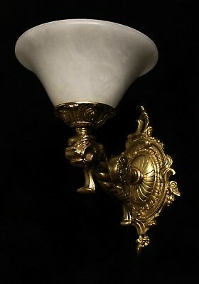 Pair of solid bronze and real alabaster wall lights sconces with lion head 7