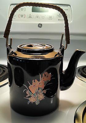 Vintage Black Teapot w/Wicker Handle -Made in Japan