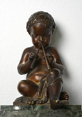 Antique 19th century French Figural Bronze & Marble Clock : Putto with Pipes 6