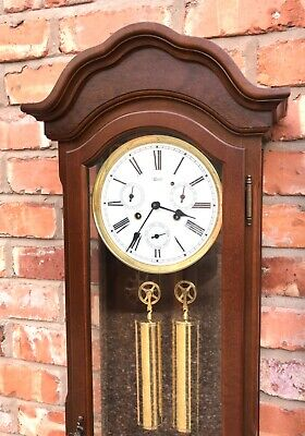 GERMAN Hermle Laterndluhr Vienna Wall Clock 3 Subsidiary Dials DAY DATE MONTH 4