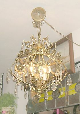 Reduced!! Fabulous Embossed Brass&Crystal  Chandelier Nashville Architect. Salv. 9