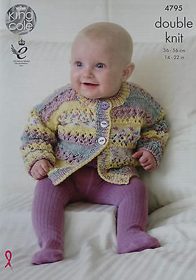 KNITTING PATTERN Baby Hat Lace Blanket & Lace Cardigans King Cole DK 4795