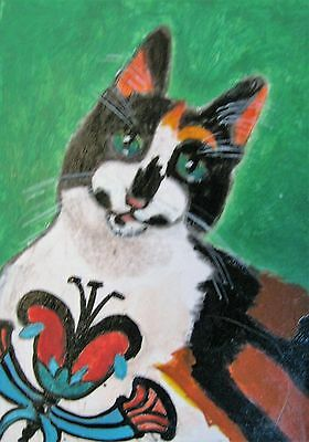 "A867        ORIGINAL ACRYLIC ACEO PAINTING BY LJH   ""DANIEL""  Cat Kitten 6"