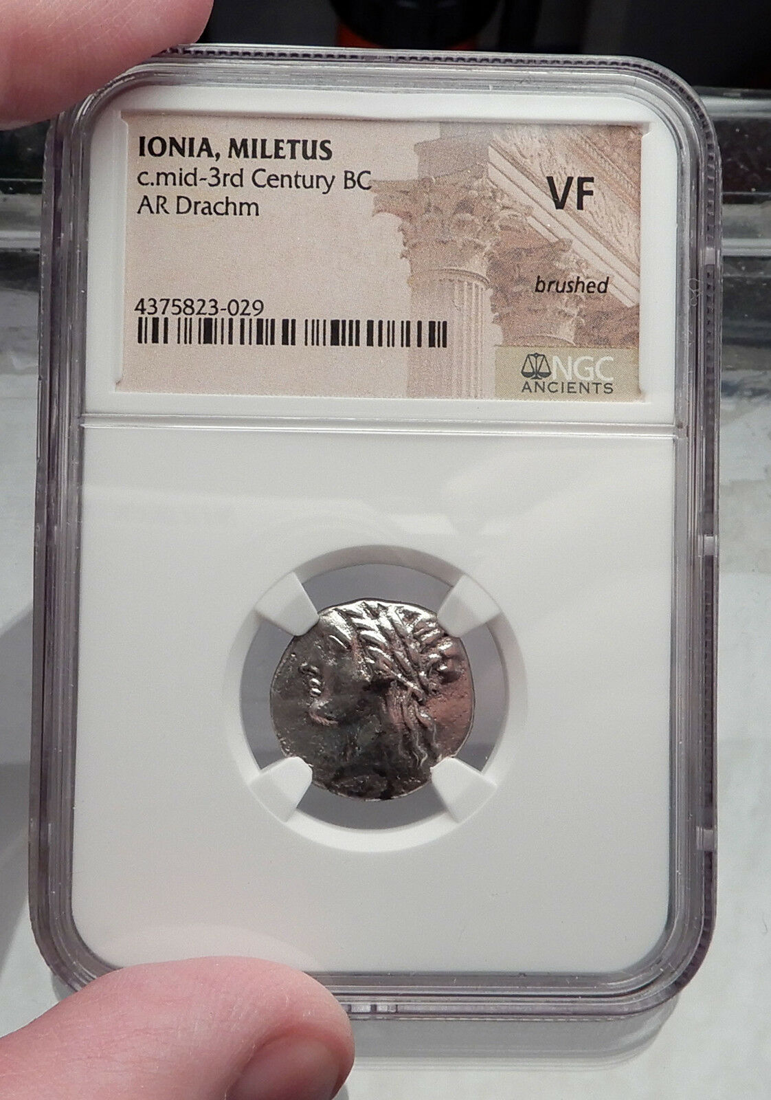 MILETOS in IONIA 250BC Apollo Lion Ancient Silver Greek Drachm Coin NGC i59956 3