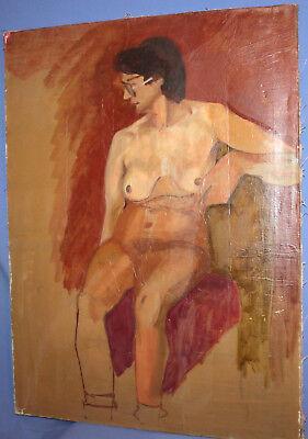 Vintage European large oil painting nude 5