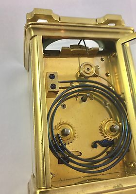 Large Brass Carriage Clock Striking on Gong By Alstons & Hallam 69 Cornhill 9