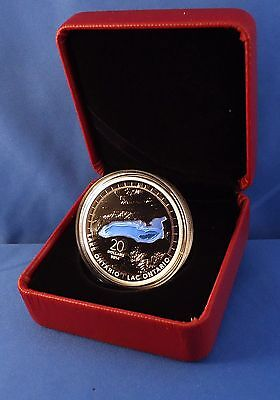 Canada 2014 Lake Ontario $20 1 oz Pure Silver Enameled Proof Coin Great Lakes #2 10
