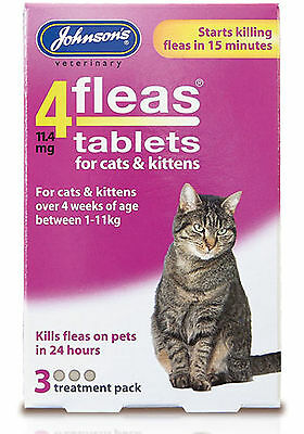 Johnson's 4 Fleas Cat Flea Tablets 3 Tablets