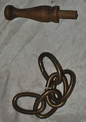 ANTIQUE/VINTAGE FINIAL OR DRAWER PULL WOOD WOODEN KNOB plus a chain 2