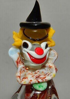 """Vintage Italian Murano Multicolored Glass Clown Figurine w/ Concertina 9"""" tall 3"""