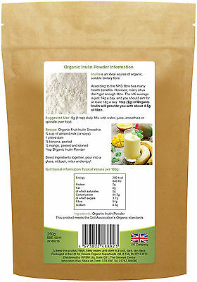 Golden Greens Organic Inulin Powder, 250g, Prebiotic, Fibre, Weight Loss, Sleep