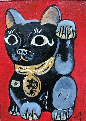 "A847     Original Acrylic Aceo Painting By Ljh ""Folk Art Cat"" 3"