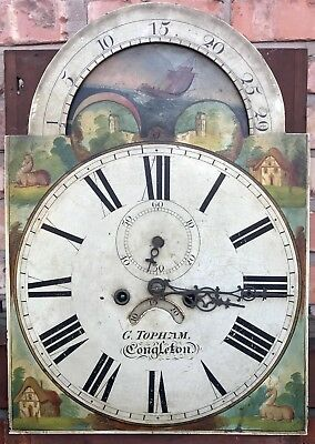 Antique Mahogany Rolling Moon Longcase Grandfather Clock G TOPHAM Congleton 6