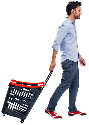 Araven 4 Wheel Plastic Shopping Trolley Basket 65L Extra Large Red 2