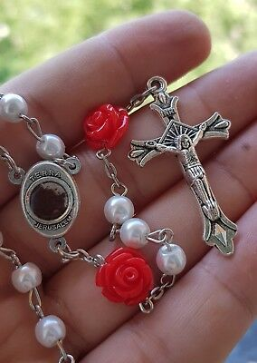 Catholic White Pearl Beads Rosary Necklace Red Our Rose Holy Soil Medal Cross 6