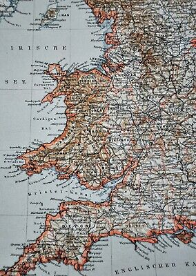 1900 Meyers Map England Wales London Liverpool Oxford Newcastle Great Britain 4