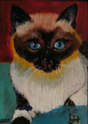 """A654     0Riginal Acrylic Aceo Painting By Ljh """"Oriental Shorthair"""" Cat Kitten 2"""