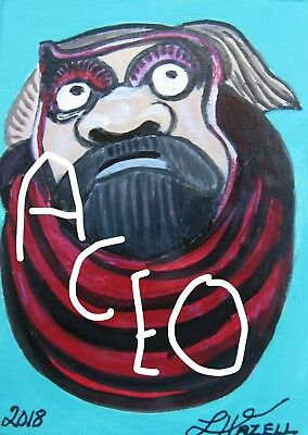 "A847     Original Acrylic Aceo Painting By Ljh ""Folk Art Cat"" 5"