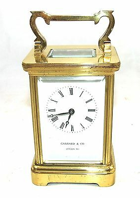 ENGLISH GARRARD & CO LONDON W1 Brass Carriage Mantel Clock & Key : Working (58) 2