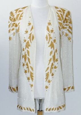 "Jasdee Vintage Jacket Hand Work Beading Length 32""Long SheerSleeve On Silk #3012 4"