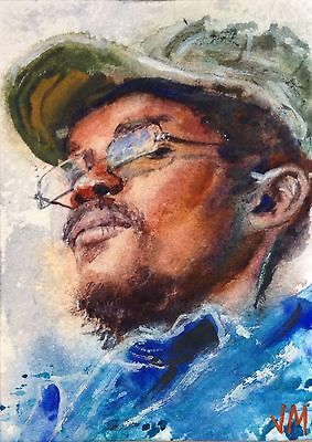 Aceo Original Watercolor  Painting Portrait  Fine Art Card  /The Drummer 7