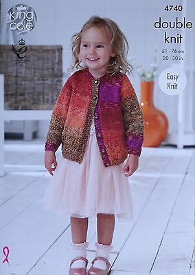 KNITTING PATTERN Girls Easy Knit Lace Hem Cardigan & Jumper DK King Cole 4740