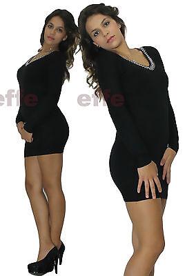 ... 2 di 6 Miniabito donna maglione Maxipull vestito abito maxi maglia  Scollo a V borchie 3 7dce0e4e6ef