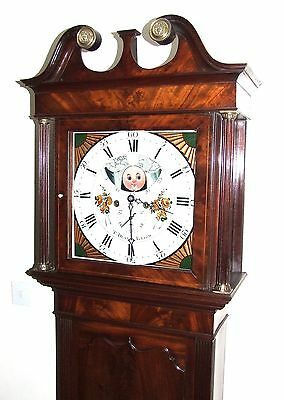 Antique Mahogany Halifax Moon Longcase Grandfather Clock by Thomas DEAN of LEIGH 4