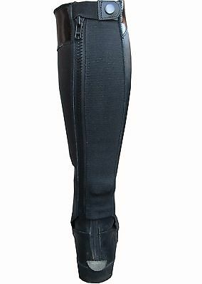 Ryda Gloss Top Ladies Black Leather Horse Riding Half Chaps Gaiters 15 Sizes