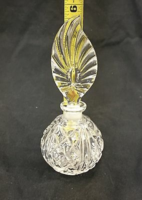 Vintage Crystal Clear Heavy Glass Feather Shape Perfume Bottle Vanity Decanter 11