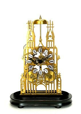 Large English Style Cathedral Crown Escapement Fusee Striking Skeleton Clock 2
