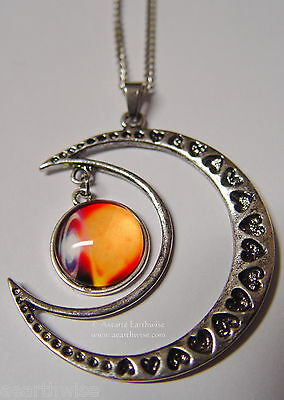 CRESCENT MOON WITH GLASS GALAXY CABOCHON PENDANT N Wicca Witch Pagan Goth 2