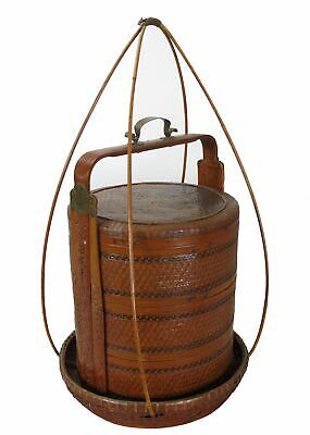Chinese Antique Bamboo Food Box w Basket 2