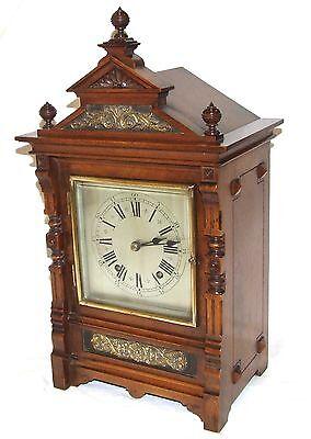 Antique Oak & Brass TING TANG Bracket Mantel Clock : CLEANED & SERVICED (a60) 3