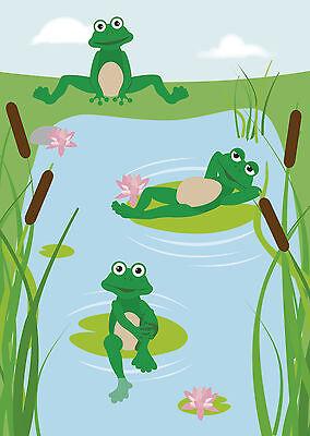 Motivpapier Briefpapier lustige Frösche Frosch Teich Kinder 20 Blatt A4 Kids See