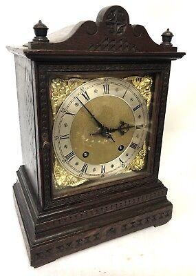 WINTERHALDER HOFFMEIER W & H Antique Oak Bracket Mantel Clock SERVICED 3