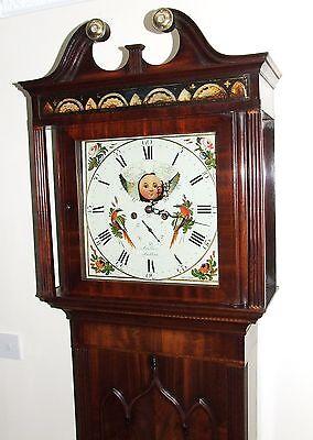 ~ Antique Mahogany Halifax Moon Longcase Grandfather Clock by Butler BOLTON 3