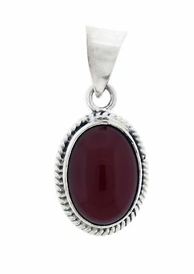 New 925 Sterling Silver Oval Carnelian Stone Pendant Necklace Charm 2
