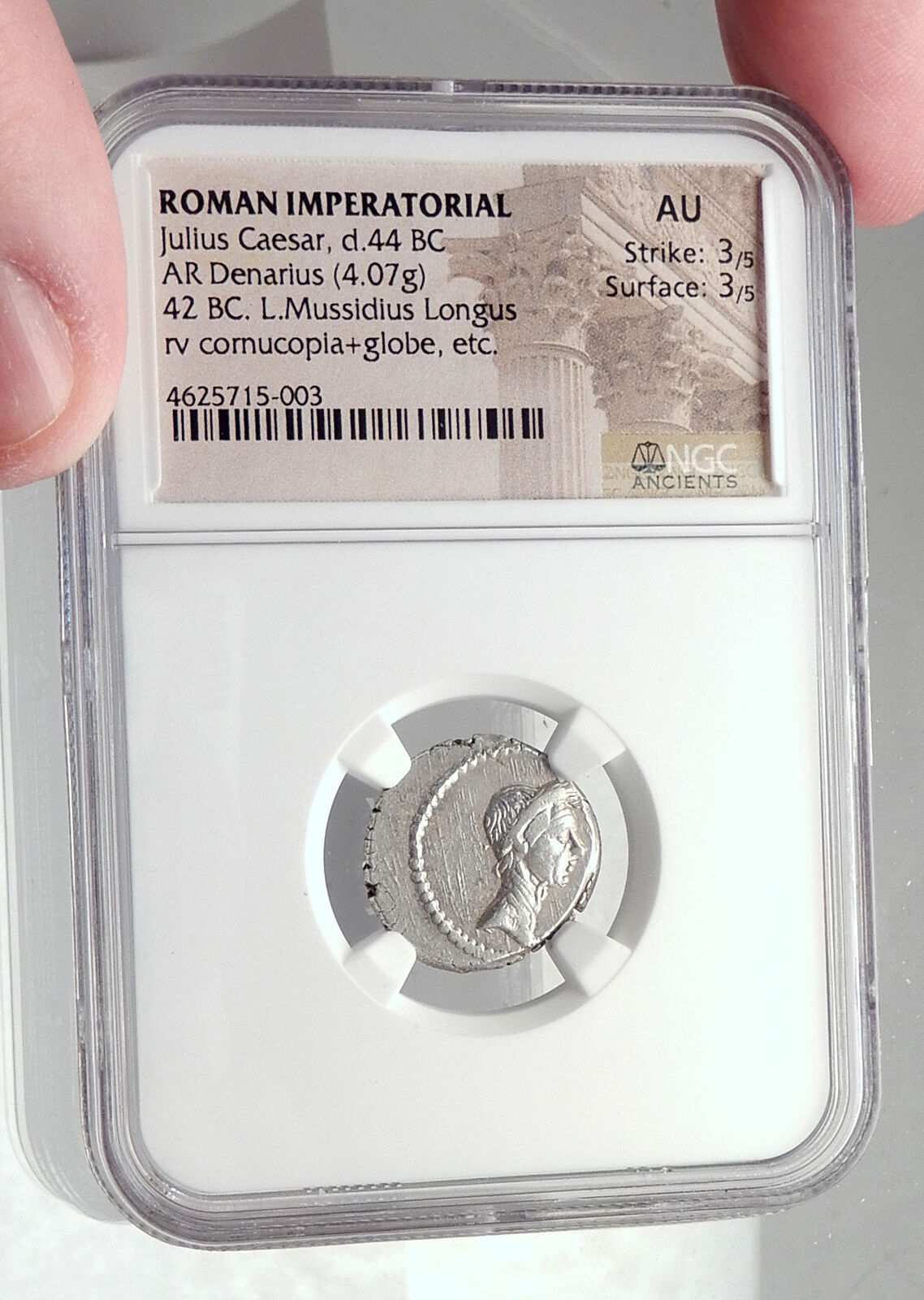 JULIUS CAESR Portrait 42BC Rome Authentic Ancient Silver Roman Coin NGC i72396 3