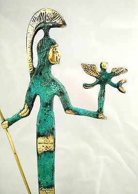 Ancient Greek Bronze Museum Statue Replica Of Athena Wth A Spear And Winged Nike 10