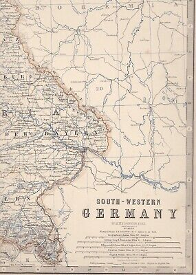 1861 Large Antique A.K.Johnston Map- SOUTH-WESTERN GERMANY - Konstanz to Leipzig 2