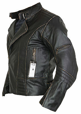 Herren Motorrad Lederjacke Biker Retro Rocker Chopper Motorrad Antik Jacke 4