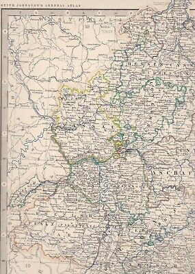 1861 Large Antique A.K.Johnston Map- SOUTH-WESTERN GERMANY - Konstanz to Leipzig 3