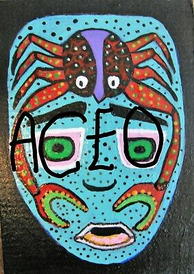 """A872  NEW -    ORIGINAL ACRYLIC ACEO PAINTING BY LJH    """"MASK""""  One-Of-A-Kind 8"""