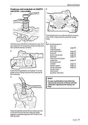 husqvarna chainsaw workshop service manual 340 345 350 351 351 g rh picclick com husqvarna chainsaw workshop manual husqvarna 240 chainsaw service manual