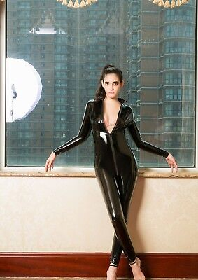 Completo Tuta Mistress Cavallo Aperto Latex Aderente Clubwear Dominatrice Lucido 11