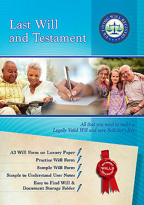 Last Will and Testament full Pack Kit- Luxury Folder & A3 Form 1 Neat 1 Practice 2