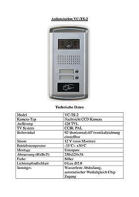 """Zweifamilien Video Türsprechanlage Gegensprechanlage Unterputz mit 2 Monitore7"""" 4"""