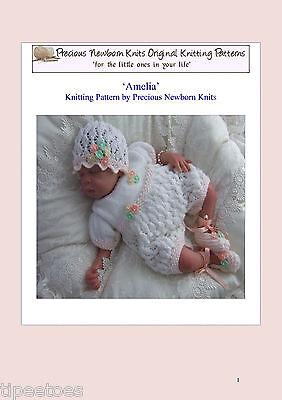 BABY KNITTING PATTERNS DK 2 AMELIA GIRLS OR REBORN DOLLS PRECIOUS NEWBORN KNITS