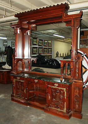 Gothic Revival Walnut and Burl Grand Scale Sideboard/Back Bar c. 1890 #7416 3